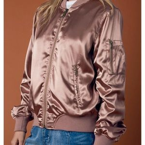 Rose Gold silk bomber